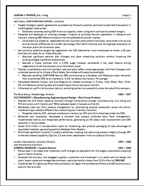 executive resume pg 2
