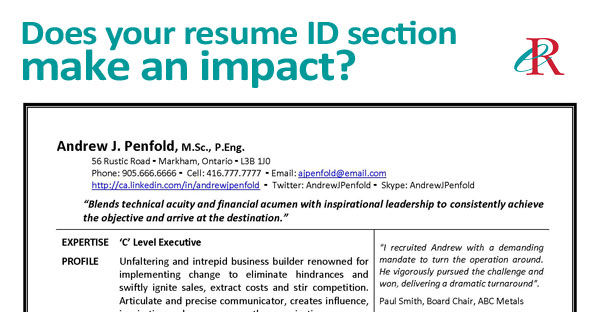 does your resume id section make an impact resume