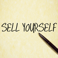 sell yourself text write on paper