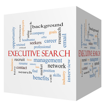 Executive Search 3D cube Word Cloud Concept with great terms such as management, recruiter, career and more.