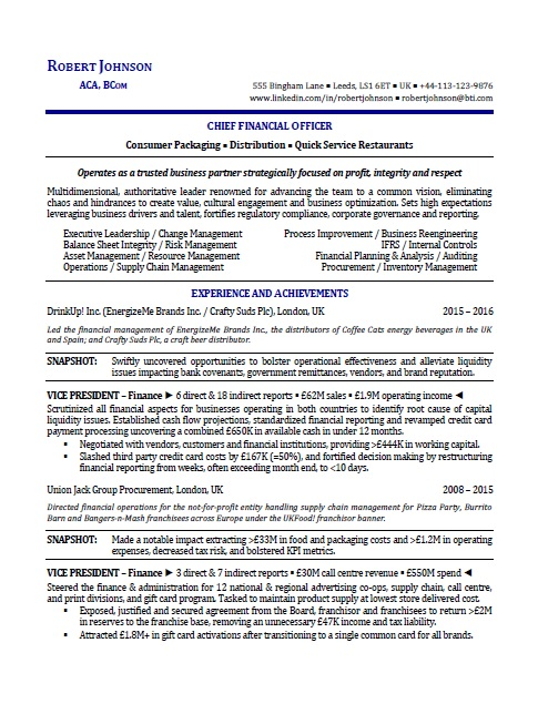 sample international executive resume