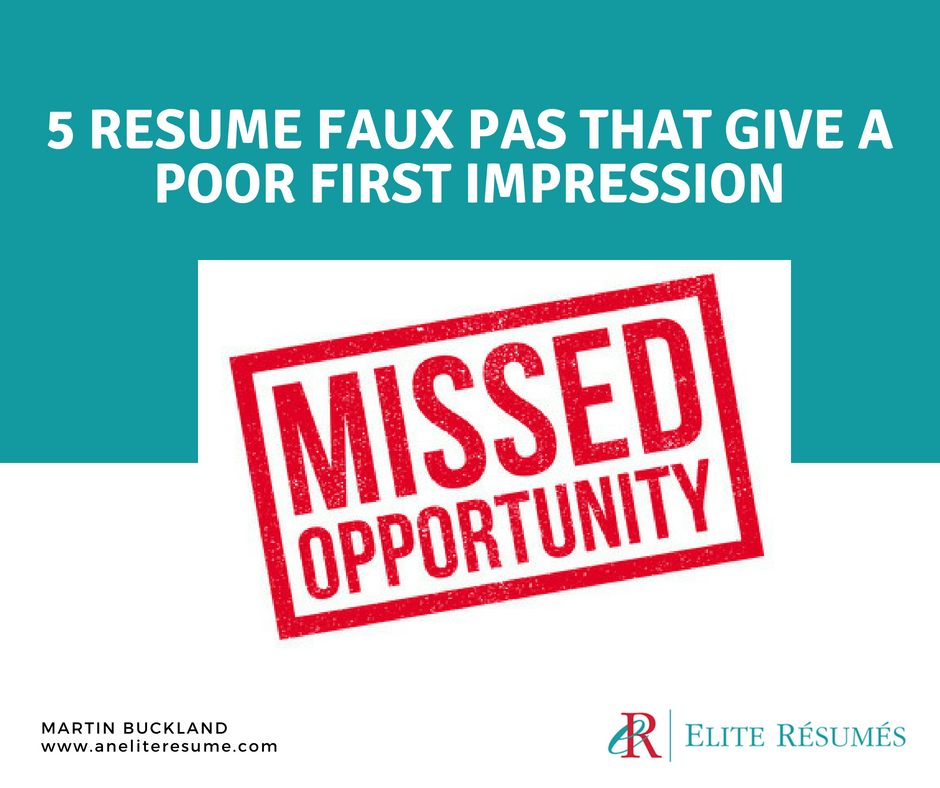 Resume Mistakes Poor First Impression