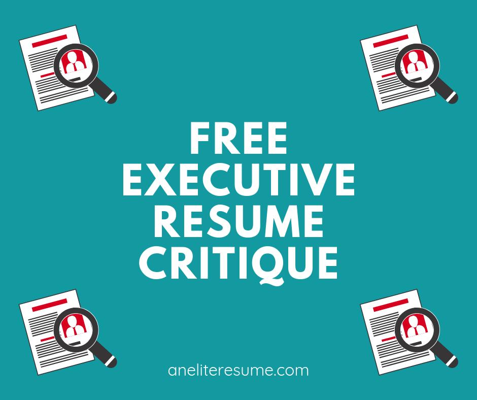 free executive resume critique