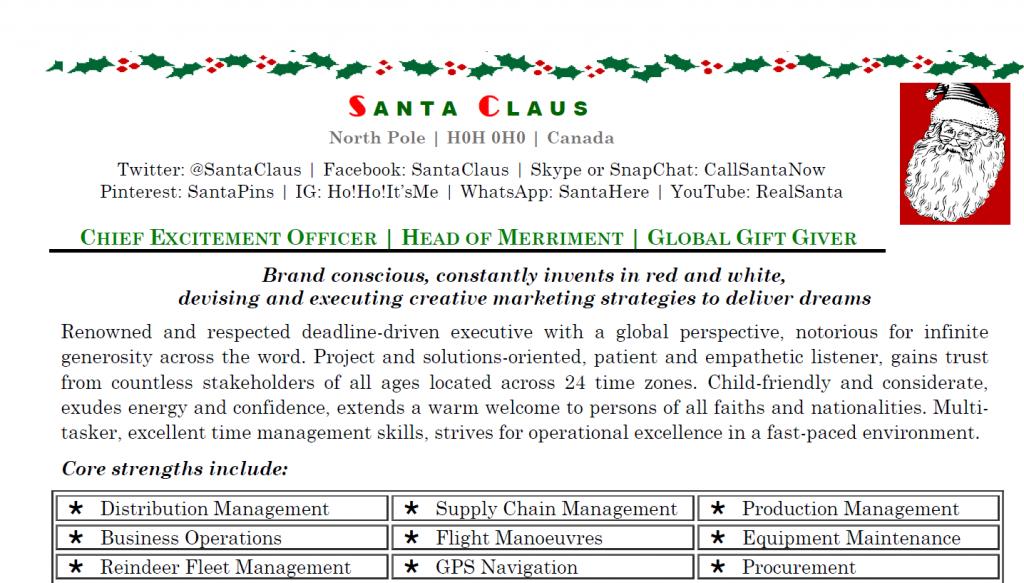 santa's resume, Santa's Resume